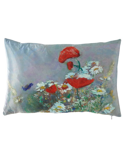 Orange Poppies Lumbar Pillow