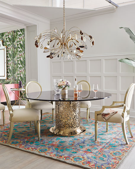 Agate and Brass 8-Light Chandelier
