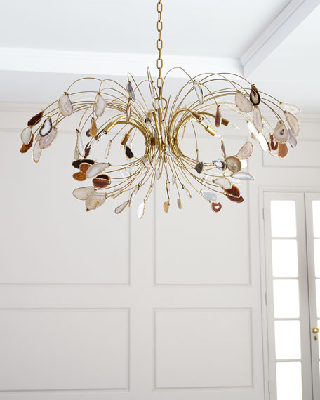 John-Richard Collection Agate and Brass 8-Light Chandelier