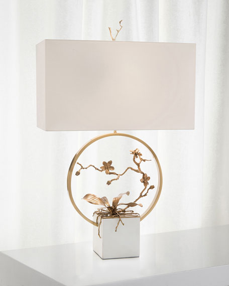 Antiqued Brass Orchid Table Lamp