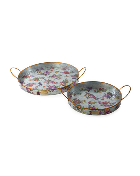 MacKenzie-Childs Flower Market Outdoor Trays, Set of 2