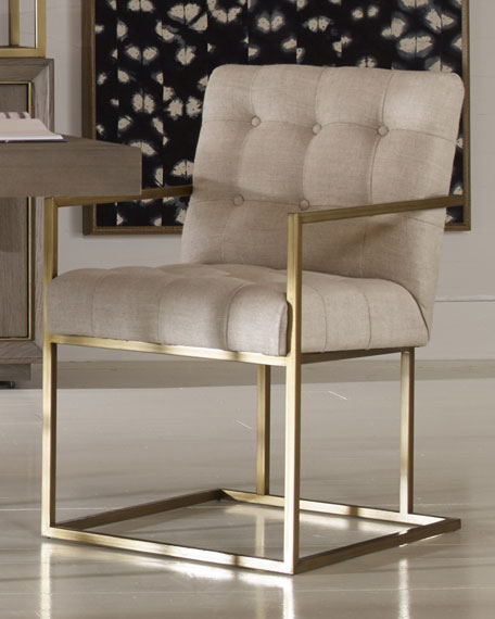 Kendall Metal Frame Tufted Arm Chair
