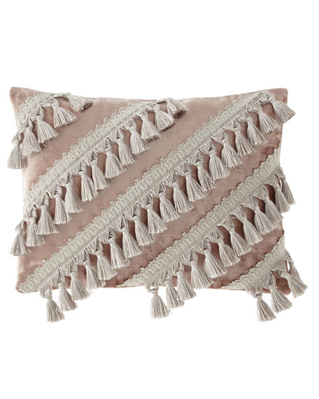 Geod Velvet Square Pillow with Tassels