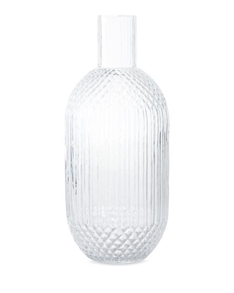 Pressed Glass Vase, Clear
