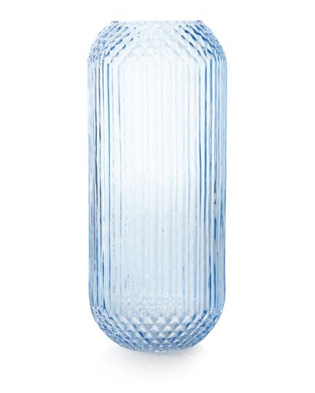 Pressed Glass Vase, Blue