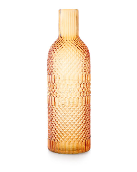 Pressed Large Glass Vase, Apricot