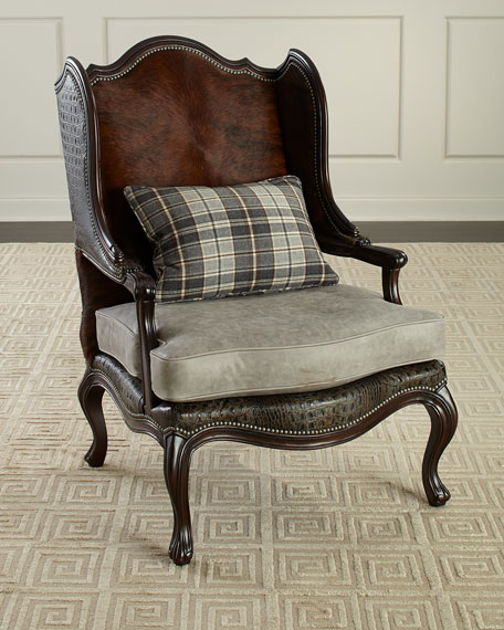 Christian Leather Wing Chair