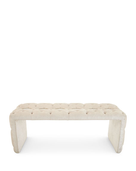 Elisa Marble Inlay Tufted Bench