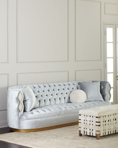 Elisa Marble Inlay Tufted Sofa  113
