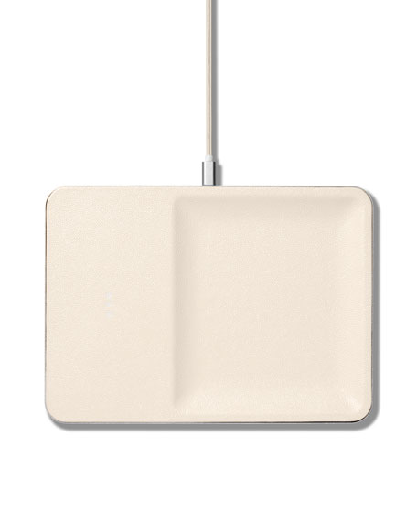CATCH:3 Single Device Wireless Charging Station w/ Accessory Organizer, Bone