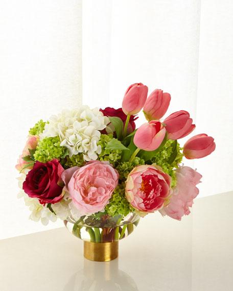 NDI Pink and White Peony Hydrangea in Glass