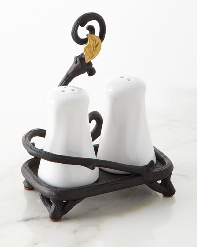 White Stoneware Salt & Pepper Shakers with Metal Gold Leaf Base