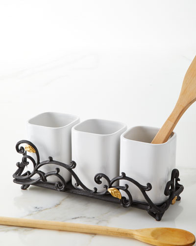 White 3-Piece Stoneware Utensil Holder with Metal Gold Leaf Base