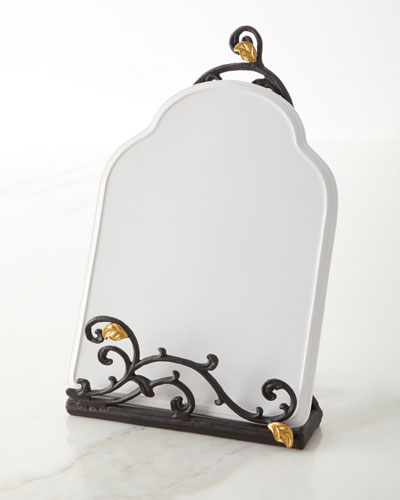 Gold Leaf Book/Tablet Stand with Stoneware Message Board