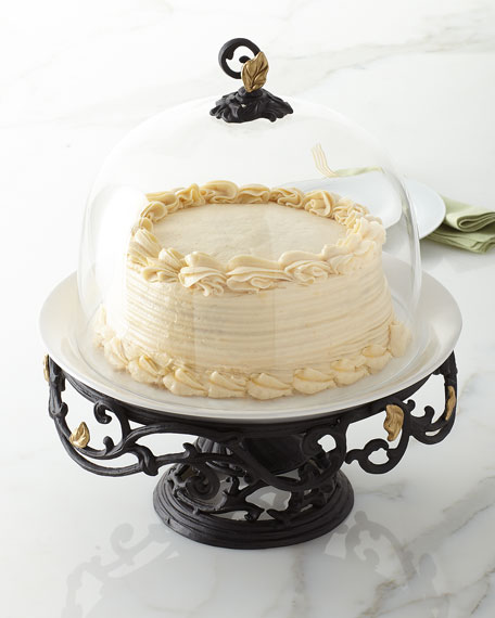 Metal Gold Leaf Cake Pedestal