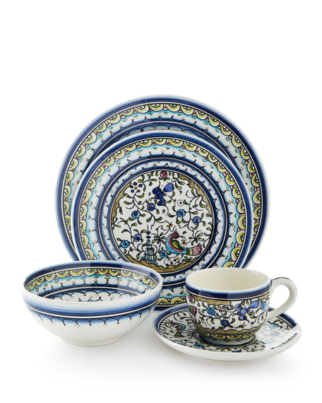 Keramos Nazari Pavoes Blue and Green 20-Piece Dinnerware