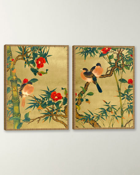 """Bamboo Garden Birds"" Giclee Wall Art, Set of 2"