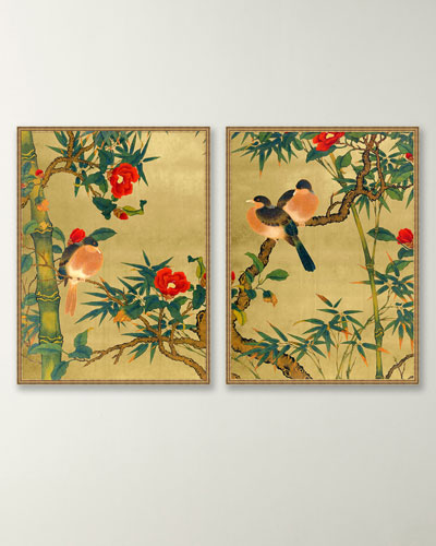 Bamboo Garden Birds Giclee Wall Art  Set of 2