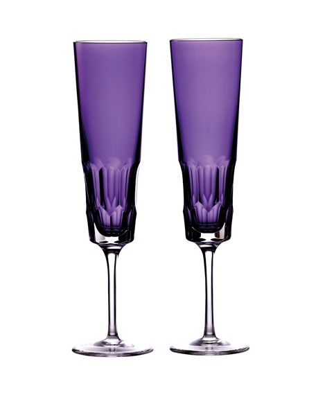Pair of Icon Champagne Flutes, Amethyst