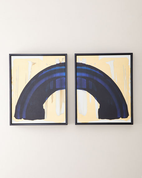 Indigo Curve Study Giclee Canvases, Set of 2