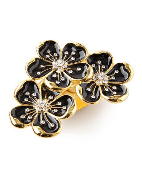 Nomi K Black and Gold Flower Trio Napkin