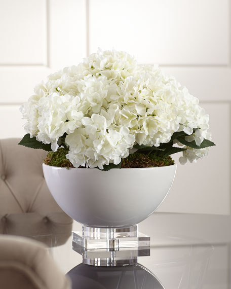 Hydrangea Floral Arrangement in Ceramic & Crystal Pot