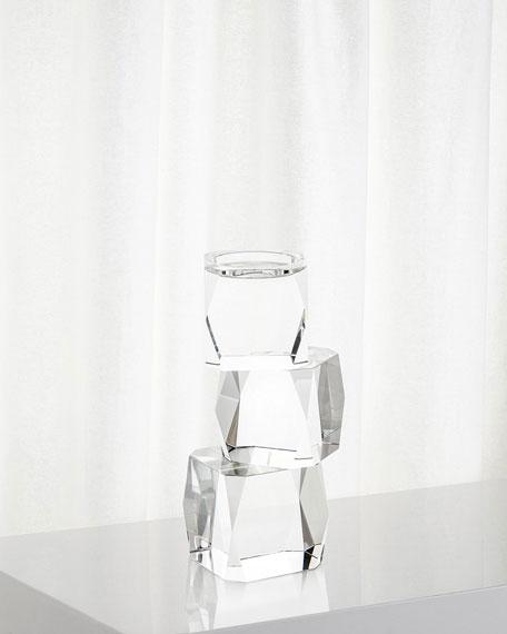 John-Richard Collection Small Crystal Cubist Candleholder