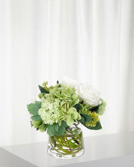 Hydrangea Rose Arrangement in Glass Pyramid