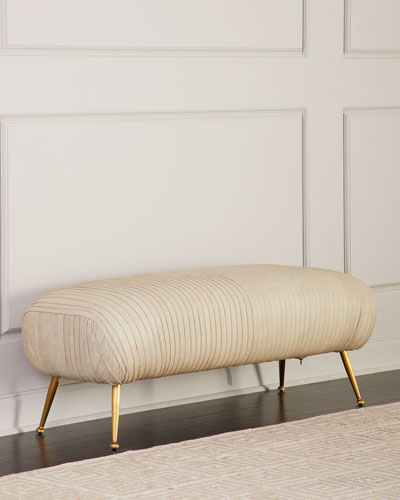 Beretta Leather Bench  Beige