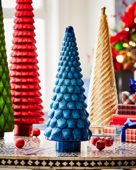 "22"" Blue Mercury Glass Tree with Glitter"