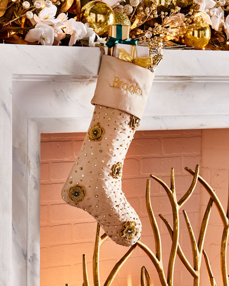 Gold Christmas Floral Cuffed Stocking