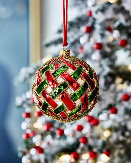 Red And Green Lattice Ball Christmas Ornament
