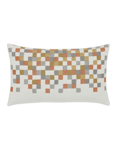 Metallic Check Lumbar Sunbrella Pillow