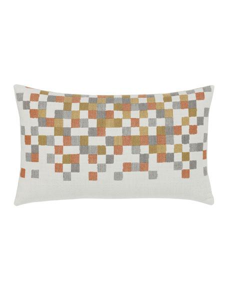 Metallic Check Lumbar Sunbrella Pillow
