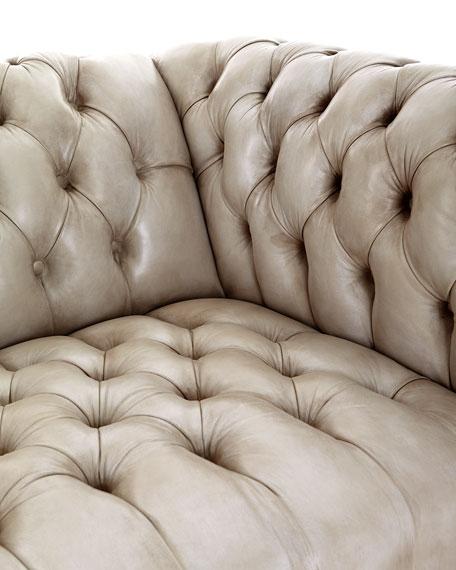 "Olga Leather Chesterfield Sofa, 94"""