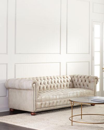 Olga Leather Chesterfield Sofa  94