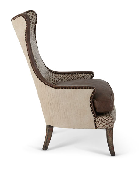 Hourglass Leather Wing Chair
