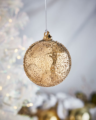 Gold & Glitter Collection Beaded Ball Ornament  4