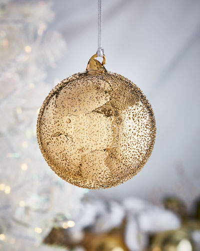 Gold & Glitter Collection Beaded Ball Ornament  4.75