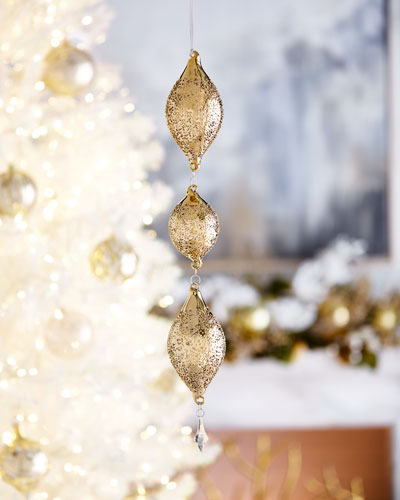 3-Tiered Gold Teardrop Christmas Ornament