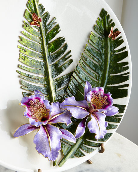 Orchid/Banana Leaf Platter with Stand