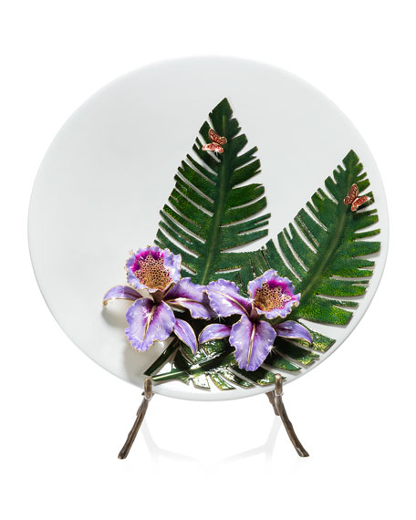 Jay Strongwater Orchid/Banana Leaf Platter with Stand
