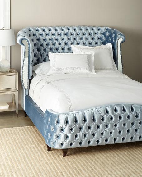 Brigitte Tufted Mirror Panel Queen Bed