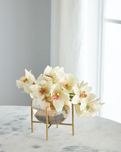 Cymbidium Orchid Glow in Glass Bowl