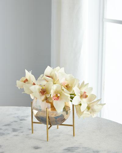 Cymbidium Orchid Glow in Glass Bowl