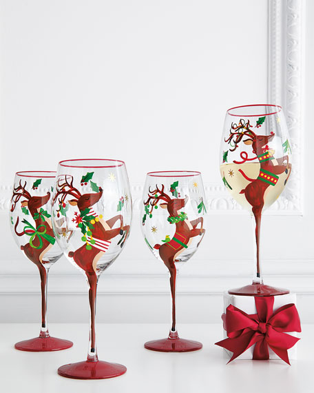 Hand-Painted Reindeer Wine Glasses, Set of 4