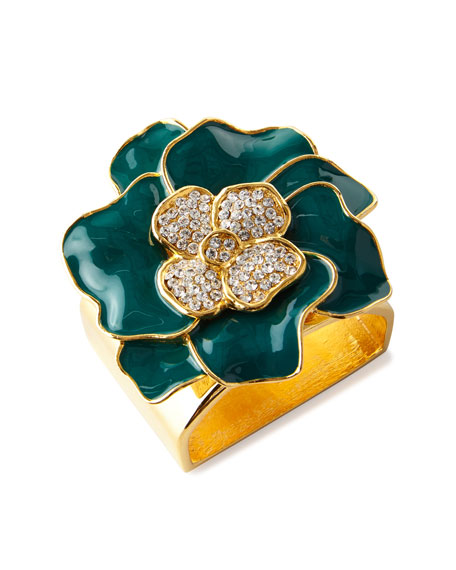 Nomi K Forest Green 24K Gold Flower Napkin