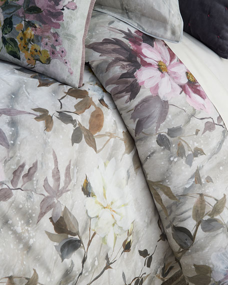 Fresco Fiore Platinum Queen Duvet