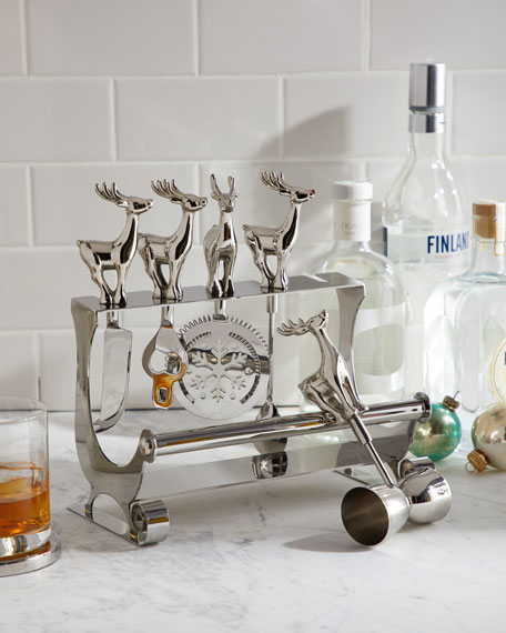 Godinger Reindeer Bar Tool Set
