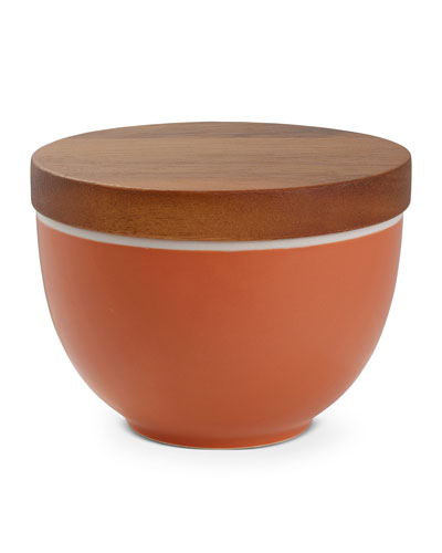 Prism Candle Bowl with Lid  Persimmon